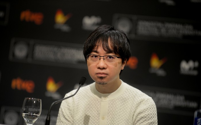 Japanese director Makoto Shinkai takes part in a news conference to promote the animated film 'Your Name' at the San Sebastian Film Festival