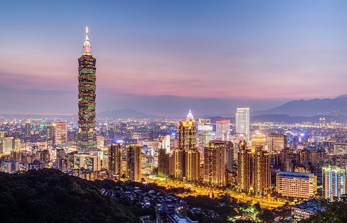 Taipei, Taiwan - circa August 2015: Taipei 101 or Taipei WTC tow