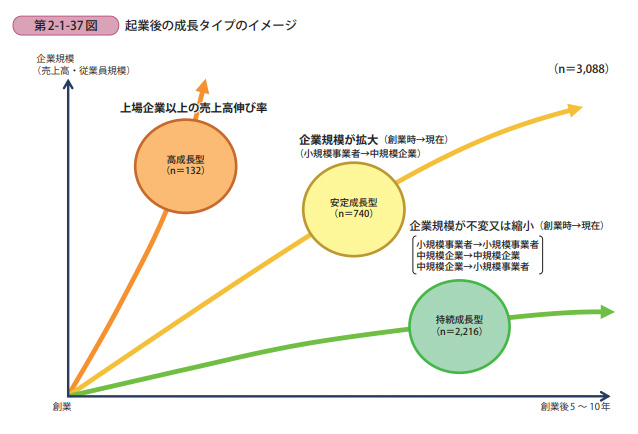 起業後の成長タイプのイメージ